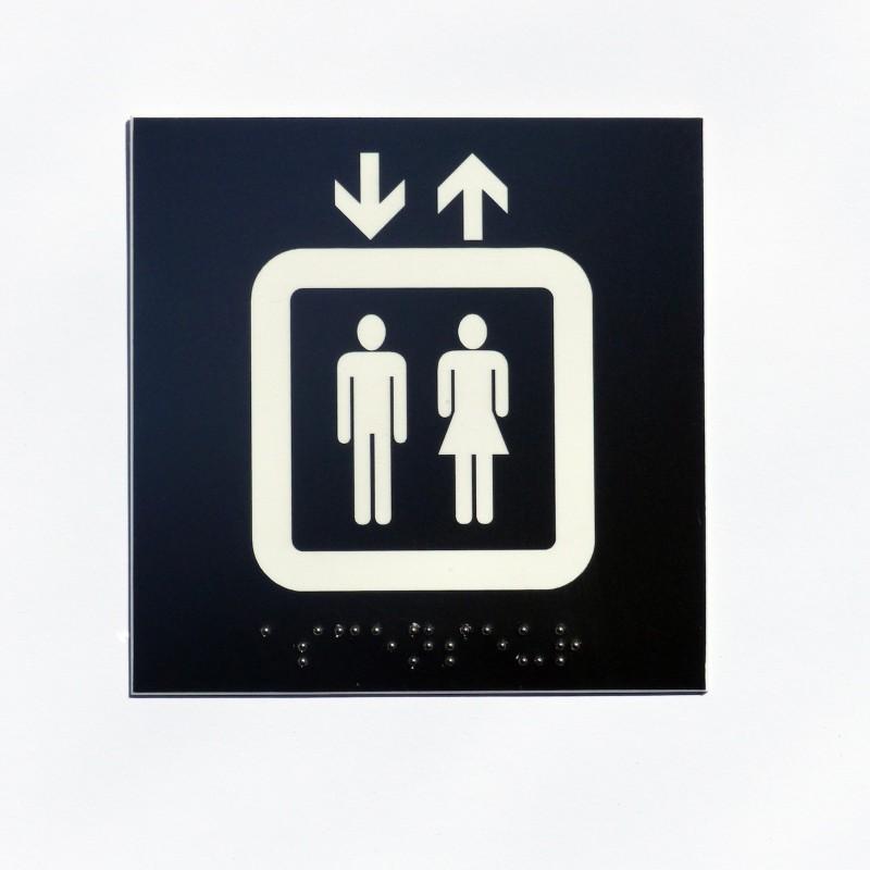 ascenseur fond noir pictogramme blanc