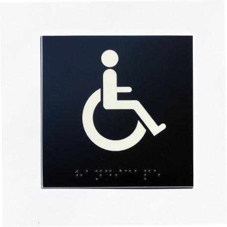 wc pour handicap s fond noir pictogramme blanc. Black Bedroom Furniture Sets. Home Design Ideas