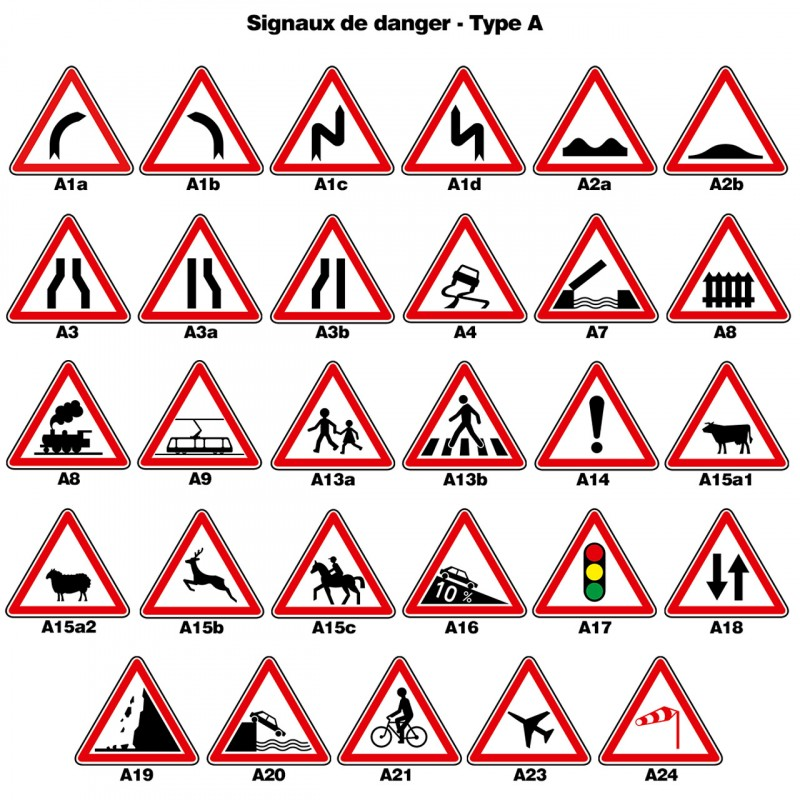 panneaux de signalisation de police des signaux de danger de type a. Black Bedroom Furniture Sets. Home Design Ideas