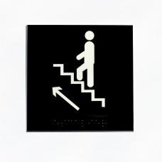 Escalier fond noir pictogramme blanc