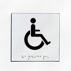 WC pour handicapés fond blanc pictogramme noir 100 mm x 100 mm