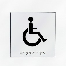WC handicapé fond blanc pictogramme noir