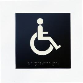 WC pour handicapés fond noir pictogramme blanc 100 mm x 100 mm