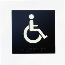 WC handicapé fond noir pictogramme blanc