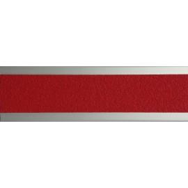 Nez de marche plat en aluminium 45 mm avec bande antidérapante rouge