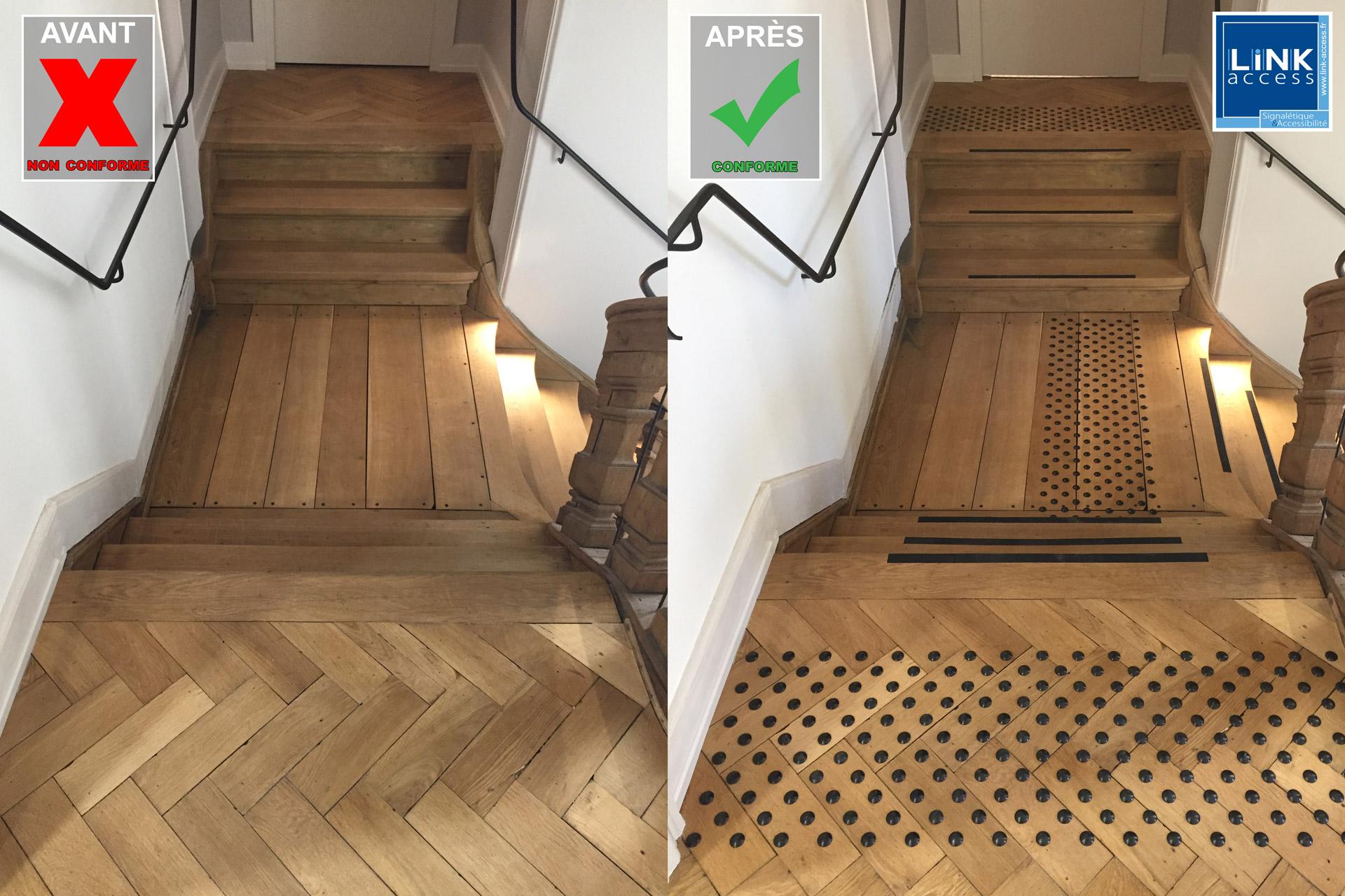 un escalier avant et après sa mise aux normes.