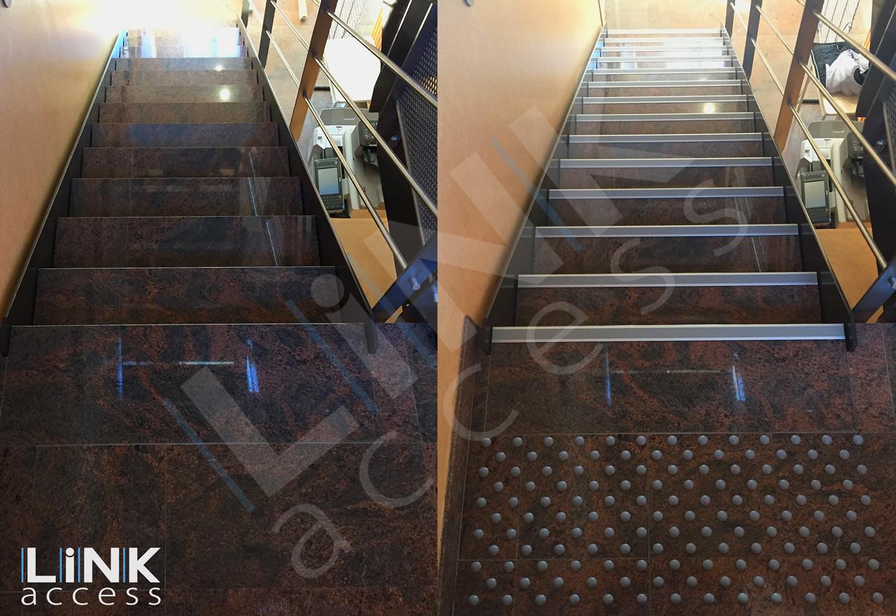 Avant et après la mise aux normes accessibilité obligatoire d'un escalier.